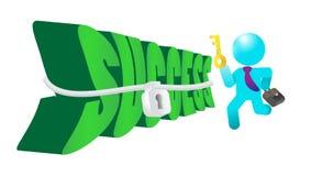Zakenman Key Unlocking aan Succes Stock Afbeelding
