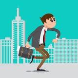 Zakenman laat voor het werk Mensenhaast aan het Werk stock illustratie