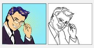 Zakenman of leraar knap in glazen, getrokken illustratie die van de pop-art retro grappige stijl hand in lijnzwarte glimlachen en stock illustratie