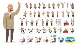 Zakenman of managerkarakterverwezenlijking, grote reeks Verschillende vi Stock Afbeeldingen