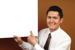 Zakenman met affiche Stock Afbeeldingen