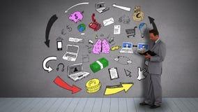 Zakenman met agenda het letten op animatie van hersenen die idee hebben stock video
