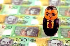 Zakenman met Australisch geld Stock Foto's