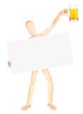 Zakenman met banner en bier Stock Fotografie