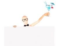 Zakenman met banner en cocktail Royalty-vrije Stock Afbeeldingen