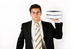 Zakenman met boek Stock Foto's