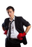 Zakenman met bokshandschoenen. Royalty-vrije Stock Fotografie