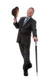 Zakenman met bowlingspelerhoed & brolly - op wit Royalty-vrije Stock Afbeeldingen