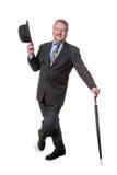 Zakenman met bowlingspelerhoed & brolly - op wit Royalty-vrije Stock Foto