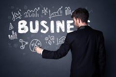 Zakenman met businessplan Stock Afbeelding