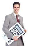Zakenman met calculator Royalty-vrije Stock Afbeeldingen