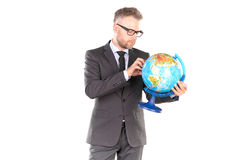 Zakenman met 3D Raadsel van de Bol Royalty-vrije Stock Foto
