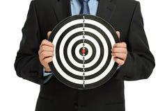 Zakenman met dartboard Stock Afbeelding