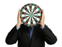Zakenman met dartboard Royalty-vrije Stock Foto's