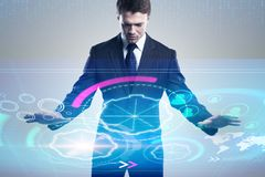 Zakenman met digitale cyberspace Stock Afbeelding