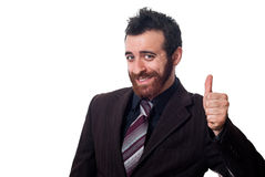 Zakenman met duim omhoog op wit stock foto