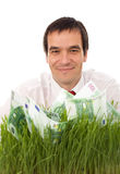 Zakenman met een groen businessplan Stock Fotografie