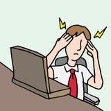 Zakenman met een migrainehoofdpijn Stock Afbeeldingen