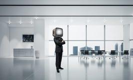 Zakenman met een oude TV in plaats van hoofd Royalty-vrije Stock Afbeelding
