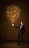 Zakenman met een sociale media ballon Stock Afbeeldingen