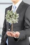 Zakenman met een uiterst kleine dollarboom Stock Foto's