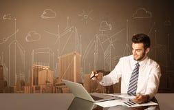 Zakenman met gebouwen en metingen stock afbeelding