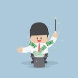 Zakenman met geld die van magische hoed vliegen Royalty-vrije Stock Afbeelding