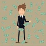 Zakenman met geld EPS10 Vector royalty-vrije stock afbeeldingen