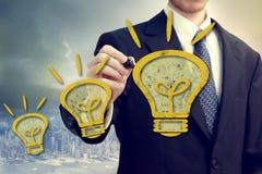 De Mens van Businness met Idee Lightbulbs royalty-vrije illustratie