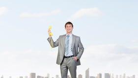 Zakenman met gele ontvanger Royalty-vrije Stock Fotografie