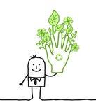Zakenman met grote groene hand Stock Afbeelding