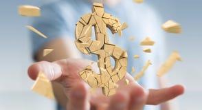 Zakenman met het exploderende dollarmunt 3D teruggeven Stock Foto's