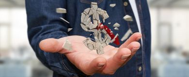 Zakenman met het exploderende dollarmunt 3D teruggeven Royalty-vrije Stock Fotografie