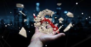 Zakenman met het exploderende euro munt 3D teruggeven Stock Foto's