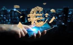 Zakenman met het exploderende euro munt 3D teruggeven Stock Afbeeldingen