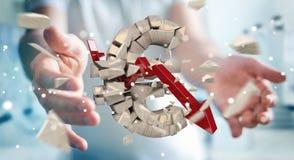 Zakenman met het exploderende euro munt 3D teruggeven Stock Afbeelding