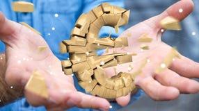 Zakenman met het exploderende euro munt 3D teruggeven Royalty-vrije Stock Afbeeldingen