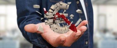 Zakenman met het exploderende euro munt 3D teruggeven Stock Fotografie