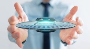 Zakenman met het retro UFOruimteschip 3D teruggeven Stock Afbeeldingen