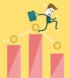 Zakenman met het vallen onderaan Grafiek zaken en Risico van investeringsconcept Stock Foto