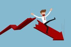 Zakenman met het vallen onderaan tendensgrafiek Het concept van het faillissement Zakenman het tonen beduimelt neer Stock Foto's