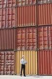 Zakenman met ladingscontainers stock afbeeldingen