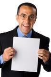 Zakenman met leeg document Stock Foto