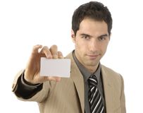 Zakenman met lege in hand businesscard Stock Afbeelding