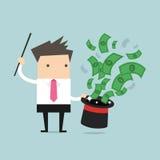 Zakenman met Magisch Hoedenhoogtepunt van Geld Royalty-vrije Stock Afbeeldingen