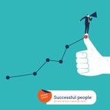 Zakenman met megafoon op houd ik van hand met stijgende grafiek Stock Foto
