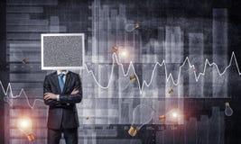 Zakenman met monitor in plaats van hoofd Royalty-vrije Stock Afbeelding