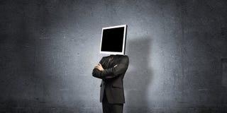 Zakenman met monitor in plaats van hoofd Royalty-vrije Stock Foto