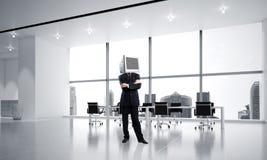 Zakenman met monitor in plaats van hoofd Royalty-vrije Stock Afbeeldingen