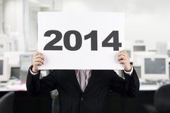 Zakenman met Nieuwjaar 2014 Stock Fotografie